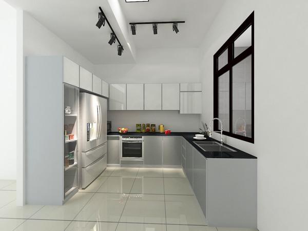 Aluminium Kitchen Cabinet 3D Drawing Taman Bukit Gemilang