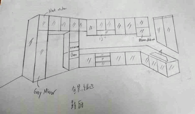 Aluminium Kitchen Cabinet 3D Sketch At Taman Bukit Gemilang