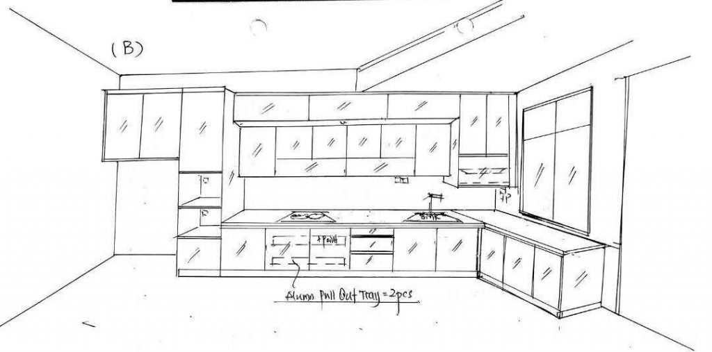 Aluminium Kitchen Cabinet 3D Sketch Bandar Dato Onn