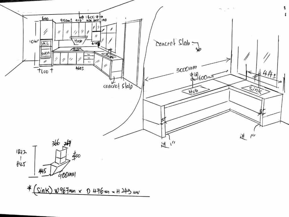 Aluminium Kitchen Cabinet 3D Sketch Taman Mutiara Rini