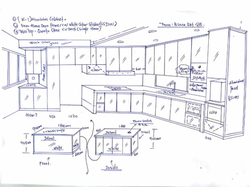 Aluminium Kitchen Cabinet 3D Sketch Taman Seri Austin