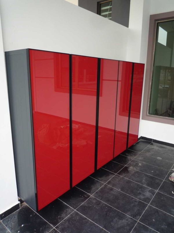 BLENO Aluminium Shoe Cabinet (Red)